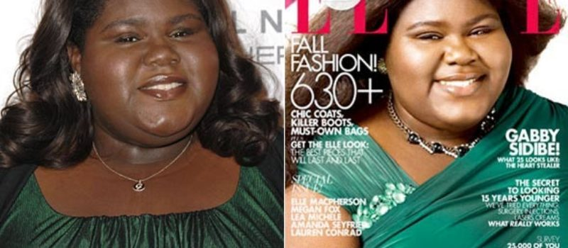 Gabby Sidibe photoshopped to have lighter skin on Elle Magazine