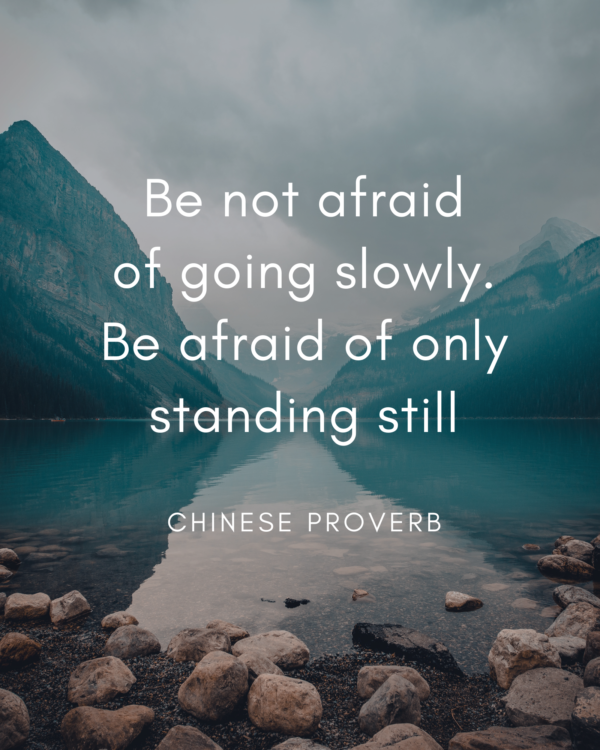 Be not afraid of going slowly. Be afraid of only standing still